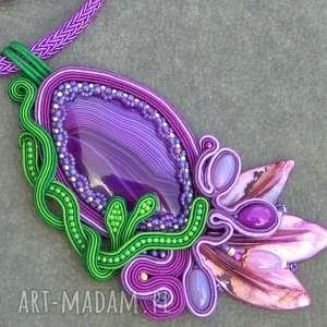 skarby ewy fioletowy naszyjnik sutasz lilia wodna, naszyjnik, sutasz, elegancki, agat