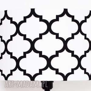 abażur fresh black-white 40x40x25cm, koniczyna, marokański, abażur, abażurek