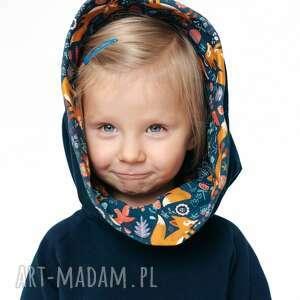 ręcznie wykonane bluza dla dziecka z komino-kapturem rudy lisek 80/86, 92/98