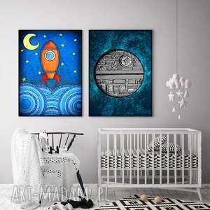 zestaw 2 prac a1, rakieta, grafika, plakat, gwiazdy, niebo, sztuka plakaty