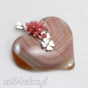wisiorki agatowe serce w jadeitach i srebrze - wisior, agat, serce, kwiat, srebro