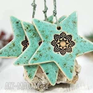 3 turkusowe gwiazdy ceramiczne - ozdoby choinkowe, ozdoby