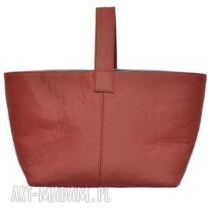 13-0009 czerwona torebka damska do ręki shopper bag / na zakupy toucan