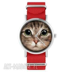 ręcznie robione zegarki zegarek - kot tygrysek czerwony, nylonowy