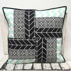 Poduszka 51x51cm Patchwork Black an Mint 02 od majunto, patchwork, poduszka-duża