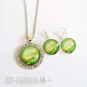 naszyjnik i kolczyki bigle - komplet zielony, liście, komplet