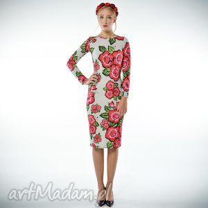 bożena - szara sukienka w kwiaty, jersey, sukienka