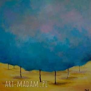 Obraz na płótnie - TURKUSOWE DRZEWA 40/40 cm, abstrakcja, turkus, akryl, drzewa, las