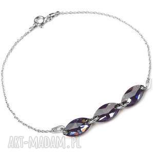 Srebrna bransoletka Navette, srebrna, bransoletka, kryształy, swarovski, czarna