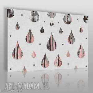 obraz na płótnie - krople marmur różowy 120x80 cm 49801, krople, łzy