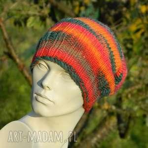 czapki papuziak melanżowa czapa 53 wool, kolorowa, papuzia, krasnal, zimowa