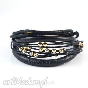 bransoletka - yenna czarno-złota rzemienie i sznurki, bransoletka