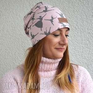 różowa ciepła czapka w baletnice beanie - czapka, baletnica, ciepła