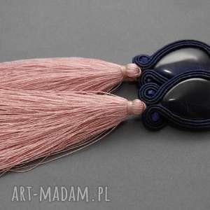 sisu kolczyki sutasz z chwostami, sznurek, eleganckie, wiszące, granatowe