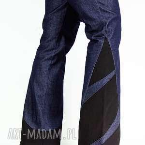 Granatowe spodnie dzwony , jeansy, dzwony, wstawki, granatowy, boho, jeans
