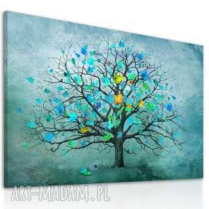 nowoczesny obraz do salonu drukowany na płótnie z drzewem, turkusowe drzewo, duży