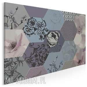 obraz na płótnie - heksagony kwiaty 120x80 cm 63902, heksagony, kwiaty, wzór
