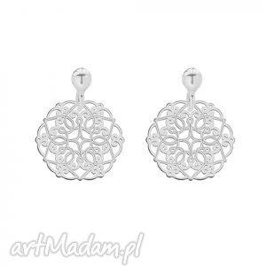 srebrne kolczyki z rozetkami - ażurowe, orientalne, rozety, modne