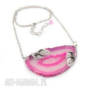 0855/mela - naszyjnik różowy agat plaster zdobiony, naszyjnik, wisior, kamień