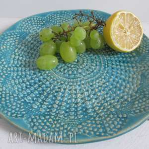 handmade ceramika turkusowa koronkowa patera