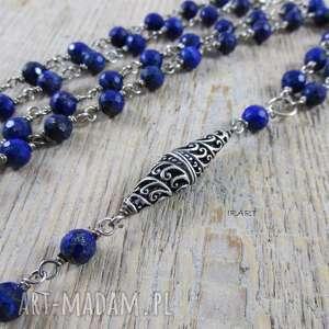 Naszyjnik z lapis lazuli w srebrze, lapis, lazuli, srebro, oksydowane, naszyjnik