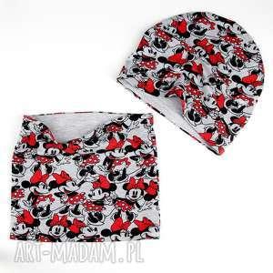 Zestaw dla dziecka Minnie Myszka Czapka Komin, czapka, komin, minnie, zestaw, ciepły