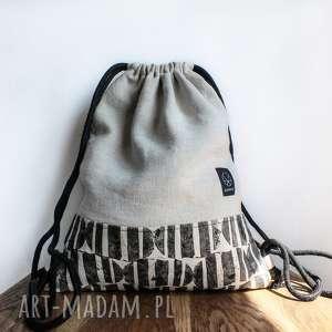 Worek plecak konopny na plażę z autorskim wzorem, worek, ecru, ekologiczna, plaża