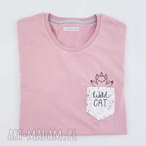 t-shirt wild cat M - ,koszulka,t-shirt,kieszonka,kot,jednorożec,haft,