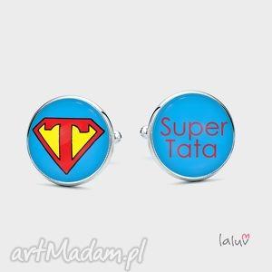 spinki do mankietów super tata - prezent, superman, bohater, grafika, ojca, ojciec