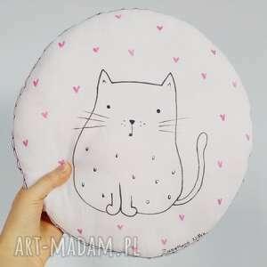 okrągła podusia dekoracyjna z kotkiem, poduszka, podusia, skandynawska, kot