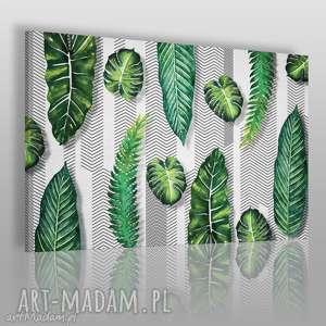vaku dsgn obraz na płótnie - liście wzór 120x80 cm 54501, liście, wzór, dżungla