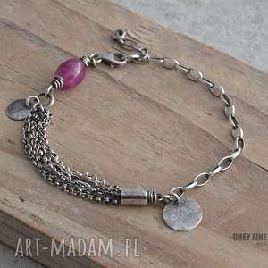 handmade bransoletka z różowym szafirem