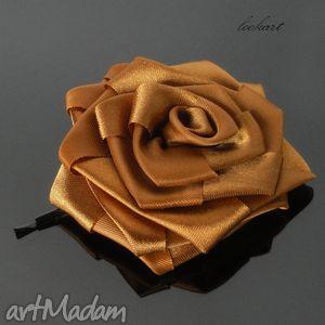 spinka brązowozłota róża, spinka, wsuwka, ozdoba, prezent, rękodzieło