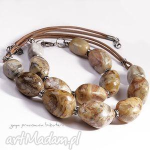 Prezent Agat Mosaic, agaty, skóra, srebro, oksydowane, prezent
