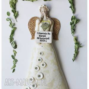 handmade ceramika anioł komunijny z tabliczką