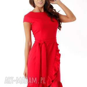Elegancka sukienka falbaną czerwona, elegancka-sukienka, polski-producent