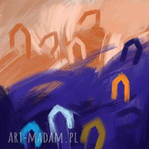 plakat 42x42 domki, kwadrat, abstrakcja, kolorowy obraz, mozaika