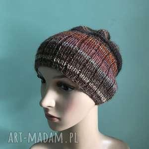 Prezent Jesienny spacer czapka, rękodzieło, prezent, dodatek, komplet