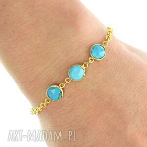 hand-made bransoletki my precious - turquoise & gold trio.