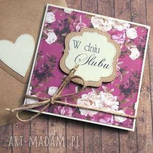kartka ślubna vintage flowers purple beige, ślub, romantyczna kartki