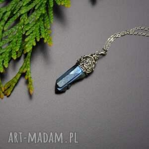 wisiorek talizman kryształ górski kwarc tytanowy aura wire wrapping stal