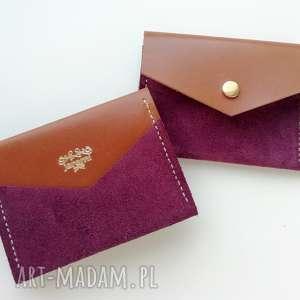 portfele rachel skórzana zamszowa portmonetka - purpura portfelik na karty