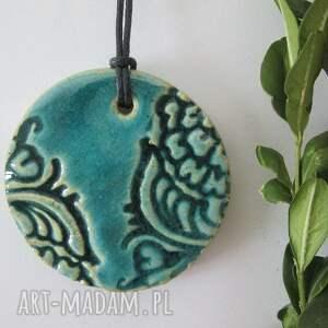 indyjski turkusowy wisiorek - ,ceramiczny,wisior,etniczny,indysjkie,biżuteria,ceramiczna,