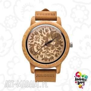 Drewniany zegarek KWIATY, folk, ludowy, etniczny, folklor, modny, dodatek