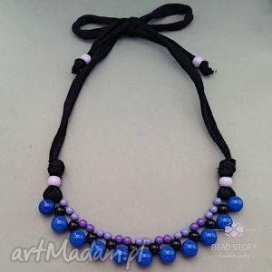 Naszyjnik z korali fioletowych czarnych kobaltowych, korale, kolorowe, akryl, bawełna