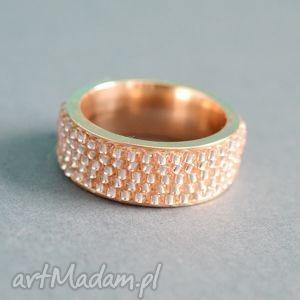 obrączka yes - różowa, obrączka, pierścionek, nunn, toho, haft, koralikowy