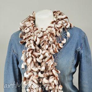 pom-pon scarf - brązowo-biały - brązowy, ciepły, melanż, zimowy