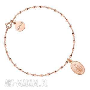 sotho bransoletka z różowego złota z medalikiem - różowe