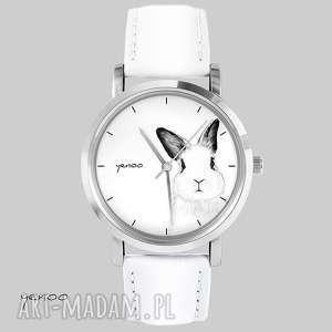 yenoo zegarek, bransoletka - królik biały, skórzany, bransoletka, skórzany