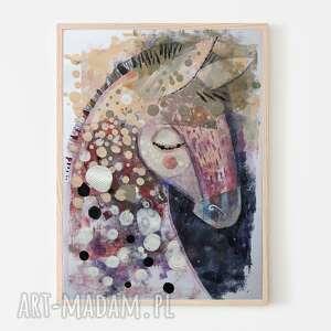 plakat 50x70 cm - konik, plakat, koń, wydruk, kucyk, jednorożec, święta